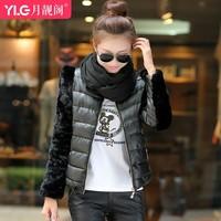 2014 down coat women's gentlewomen slim all-match elegant o-neck short design wadded jacket female