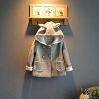 Girl Children Light gray woolen double breasted woolen outerwear coat Girls woolen trench Free shipping