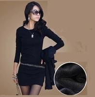 2014 New Fashion Autumn and Winter Women's Dresses Slim hip Basic Female Long-sleeve Basic Plus Velvet Thickening Slim Dress