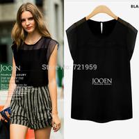 Free shipping 2015  New Fashion Lady's Shirt Three Quarter Chiffon Shirt Korean Women shirt  5 size  size  s-xxl