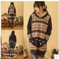 The new autumn and winter long section of a cartoon deer stitching sweater coat female
