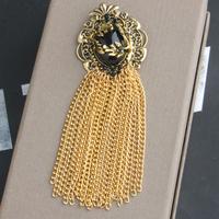 Baroque royal pattern decorative vintage tassel brooch crystal quality sweater brooch female brooch badge pin accessories