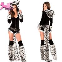 cosplay Sexy Black&White Stripe Tiger Disfraces Fantasia halloween High Quality Performance Clothing Animal costume XDW017