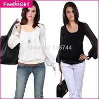 2015 New Plus Szie Euro Fashion Black And White Loose Casual Long Sleeve T-Shirts Lantern Sleeve Women Clothing 3
