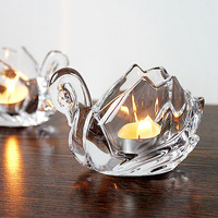[] small mixed batch of transparent crystal glass Little Swan Candlestick romantic candlelight dinner props bar