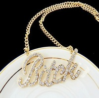 Wholesale Jewelry Fashion Imitation Diamond Bad Bitch Gold Chain fashion necklaces for women 2014