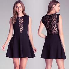 XXL-S 2014 autumn evening dresses cotton Sexy deep V lace stitching Slim black sleeveless o-neck short mini dress for party