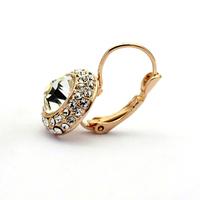 Women Gold/Silver Plated Jewelry Rhinestone Oval Stud Earrings 64145