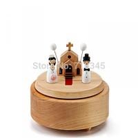 Wedding model clockwork type wooden music box,hand cranked music box,best wedding gift