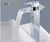 Free Shipping 2014 New Luxury Fashion Solid Brass body Deck Mounted WATERFALL  Bathroom basin Faucet Single HandleGF 2791A