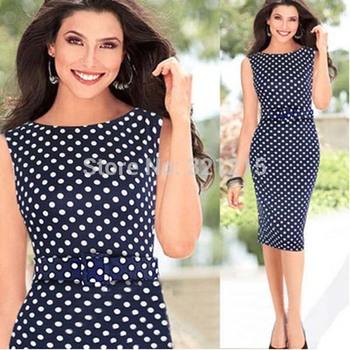 2014 лето женщин свободного покроя тонкий рукавов синий платье ну вечеринку одежда Большой размер женский офиса в горошек платье ( без пояса ) LJ133LMX