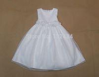White color  girls summer dress princess dress tutu dress  flower girl dresses for children(4-8 age)
