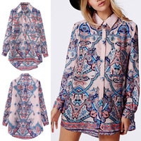 Hot Sale New Women Palace Totem Flower Print Casual Long-sleeved HI-LO Shirt Blouse Tops
