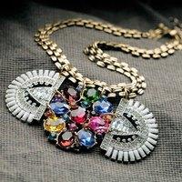 Vintage Ethnic Grass Gem Shourouk Drop Chain Choker Statement Necklaces & Pendants New 2014 Fashion Jewelry Women Wholesale N191