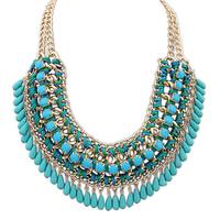 Bohemia Blue Bead Gold Tassel Layered Chunky Collar Statement Necklaces & Pendants New 2014 Fashion Jewelry Women Wholesale N203