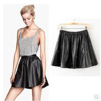 Free Shipping 2014 New Sale Fashion Women's Elastic Waist Skull Rivets Leather Skirt