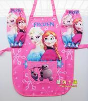 Kids Girls Aprons Frozen Waterproof Apron Cooking Apron Princess Anna & Elsa Costume 3PCS Set Cooking Kitchen Clean/Tools CW-20