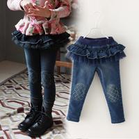 2014 Fashion  Girl Winter Jeans Trousers Plus Thick Velvet Ruffles Waist Pants Freeshipping