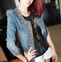 Autumn long-sleeve denim outerwear vintage rhinestone paillette o-neck top slim women's