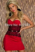 2014 New Fashion Elegant Lady Sexy Strapless Bodycon Peplum Mini Evening Party Dress Women Waist Lace Dresses ith Belt