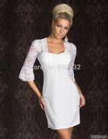 2014 New Designer Fashion Lace Flare Sleeve Slim Dress Black Sexy Women Night Clubwear Dress