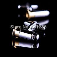 Free shipping Men Cufflinks retail 18K gold plating bullet design rotatable bullet best gift for men cuff links wholesale&retail