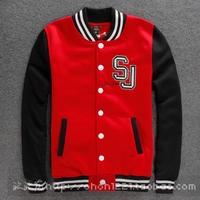 2014 New fashion autumn winter Black Red Male mens cotton Jacket casual baseball men's clothing plus size sweatshirt for men