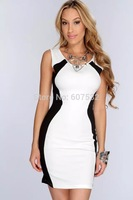 2014 New Fashion Candy Color Summer Sexy Club Dress Party Patchwork Dresses Pink Black Clubwear Plus size
