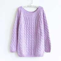 Twist striped women's 2014 winter sweater pullovers long sleeve warm ladies factory directly wholesale price knitted tops
