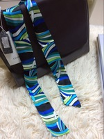 2014 BRAND new 100% real silk 32*2 inch small ribbon belt bind bag headband real shot blue and green feather scarf free shipping