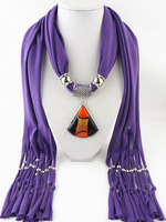 New Fashion Jewelry Fringed Scarf Fan-shaped Art Glass Pendant Scarf Free Fast Shipping