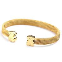 Brand designer men's titanium steel mesh bracelet 18K gold rope Bangle Bracelet Teddy Bear
