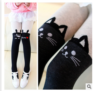 FASHIONPRINT fashion new 2014 cute black cat children panty-hose autumn thick tights girls color matching panty-hose(China (Mainland))