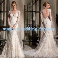 Vestido De Noivas 2015 Sheer Boat Neck Long Sleeve Mermaid Backless Wedding Dress Vestido De Casamento Vestido De Renda