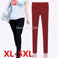 XL-5XL size 2014 new european style extra plus size elastic waist women warm winter pants fleece pencil pants trousers
