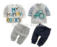 christmas 2015  new European  baby clothing children's striped  alphabet car suit boys girls kids t-shirts+ pants =sets