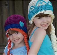 Top quality New frozen girls winter warm crochet caps elsa anna workmanship girl fashion hat kids stingy brim hats