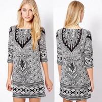 2014 Autumn New Fashion Women Vintage Dress Half Sleeve Totem Pattern Printed Slim Fit Woman Dress Free Shipping 12048