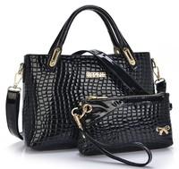 Parent Subsidiary Bag Bolsas Femininas 2014 Fashion Women Handbags Crocodile Patent Leather Tote Female Shoulder Bag Clutch bag