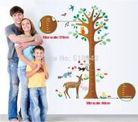 Owl Fox Deer Tree Height Growth Chart Measure Large Vinyl Wall Sticker For Children Room Decor/Cartoon Wall Decal Mural 80*135cm
