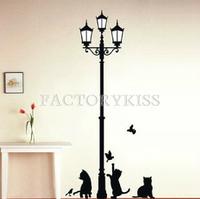 Free Shipping Home Decoration 3 Little Cat under Street Lamp DIY Wall Sticker Wallpaper Art Decor Mural Room Decal 4016-747