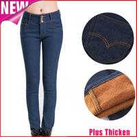 Women velvet jeans 2014 new winter plus size pencil pants casual high waist skinny warm denim trousers calcas vaqueros K34