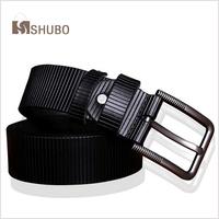 SHUBO 100% Genuine Leather Belts Strap Male Pin Buckle Men Vintage Black Cowhide Belt uno Cintos Cinturones for Mens Gift BM002