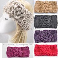 Women Knitted Winter Flower Headband Ear Warmer Lady Crochet Acrylic Hairband