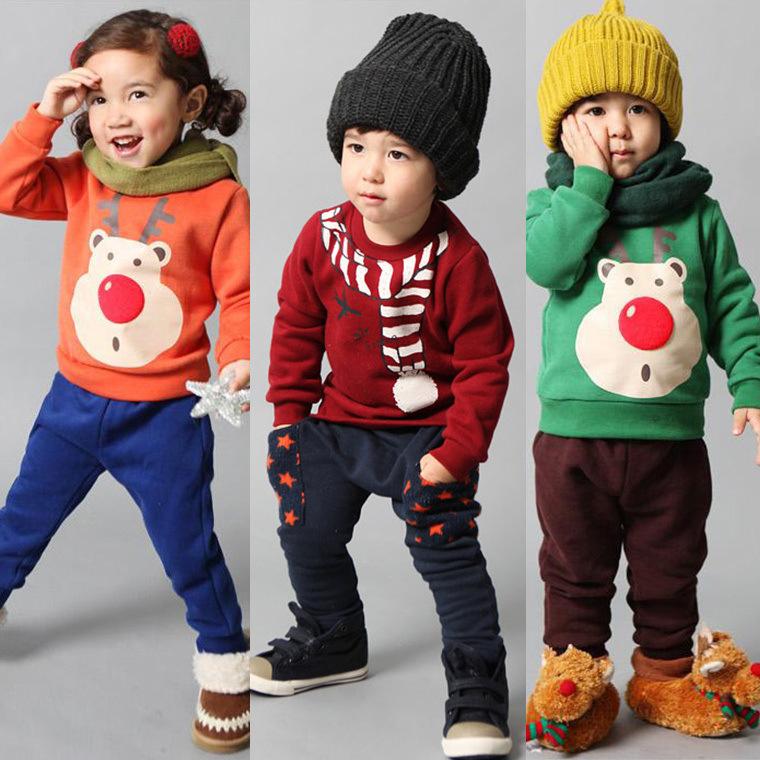 Invernali 2014 set di abbigliamento per bambini ragazzi ragazze vestiti di cartone animato di natale felpa + pantaloni set ragazzi vestiti di marca set