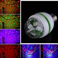Universal Usage E27 3W Colorful Auto Rotating RGB LED Bulb Stage Light Party Lamp Disco  K5BO