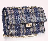 Chain bag navy blue plaid, tweed material ladies bags, elegant ladies senior, autumn and winter new starter