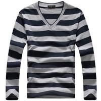 Men's v-neck long-sleeved t-shirt Spring Striped Pullover