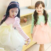 New Arrival 2014 Girls sweet bow dress autumn plaid dress long sleeve Kids cotton dress for Autumn&winter Children clothing