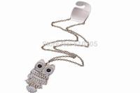 Wholesales 90cm length  vintage necklaces Owl pendants long necklaces